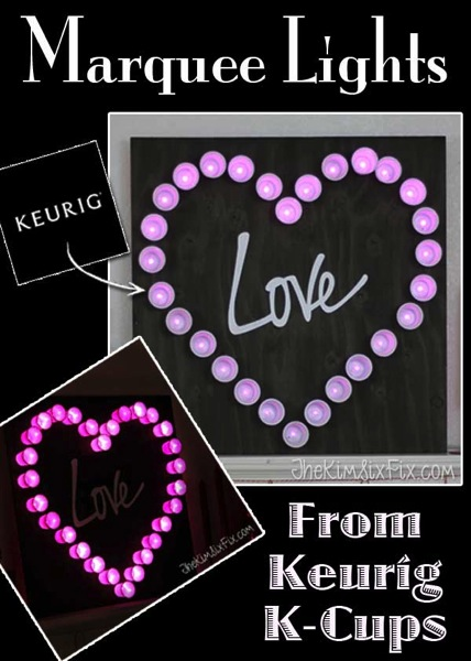 Heart marquee light from Kcups