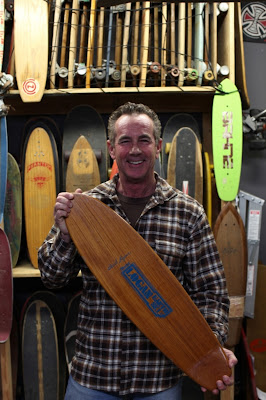 Brad is all smiles that he found one of his model boards at Skatelab in Semi Valley. This board is either made of Teak, Almond or Rosewood and it has never been used!