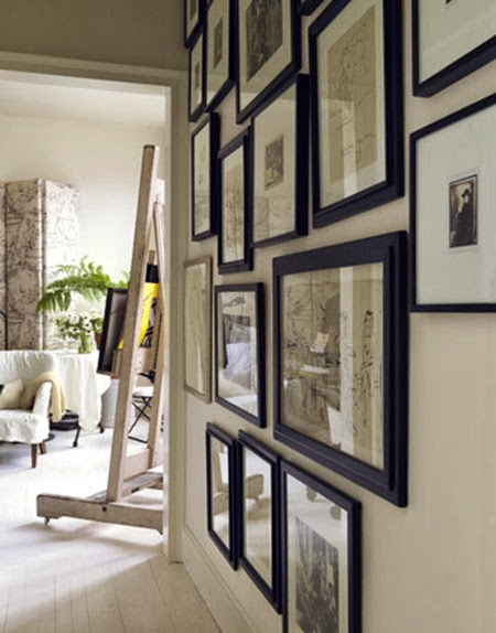 Black and white photography gallery wall House Beautiful