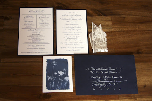 The invitation suite introduced sunprint elements and lace details.