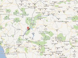 – Le point A en rouge, la localité de Lukolela dans la province de l'Equateur en RDC, localisé sur GoogleMap.