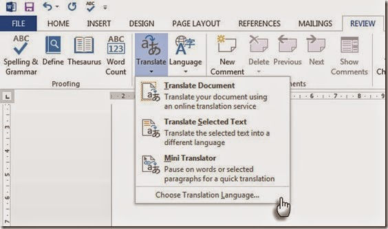 Microsoft Word Translate