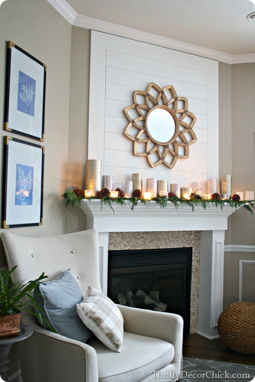 Christmas mantel with glass containers