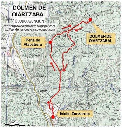 Mapa ruta dolmen Oiartzabal