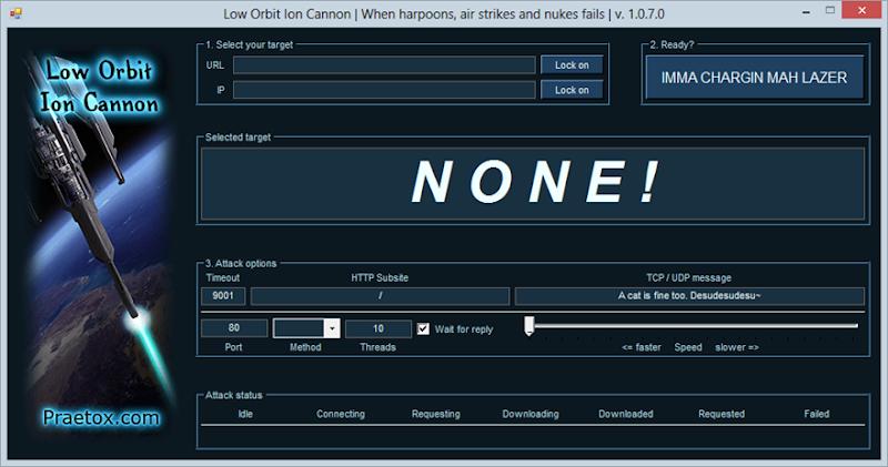 The LOIC interface