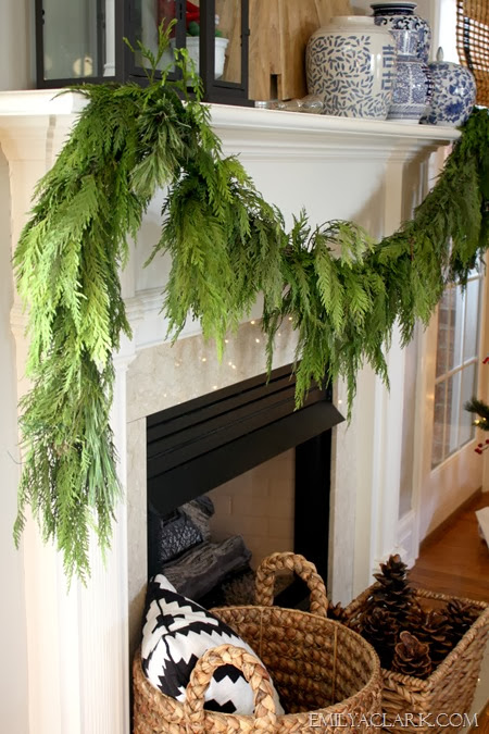evergreen garland on mantel