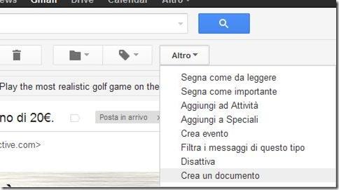 Gmail Altro opzione Crea un documento