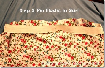Dress Refashion, Pin Elastic to Skirt