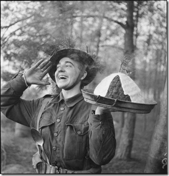 pud Gunner H S Hadlow of 15th (Scottish) Division in Holland, announces that the Christmas pudding is ready