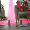 Pink fountain at Love Park