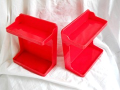 red plastic shelf