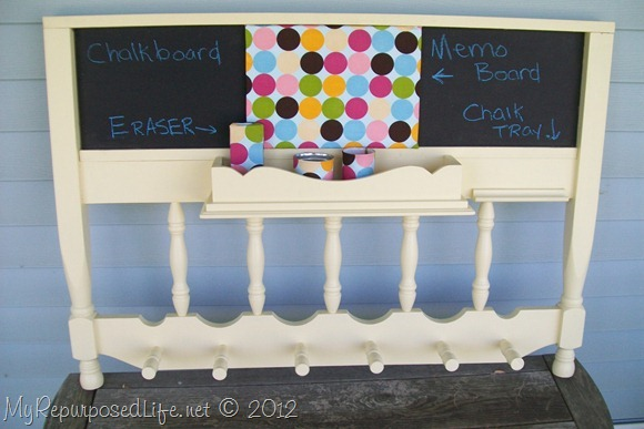 repurposed headboard memo coatrack
