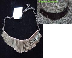 silver bib necklace, hyphen