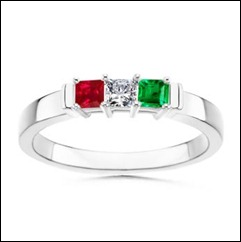 Stackable Ring With Ruby, Diamond, Emerald in 14k White Gold
