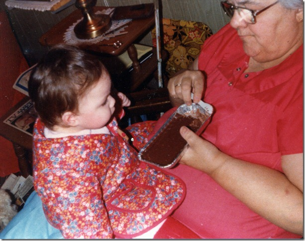 Monique and Jeannette eating Fudge 1981