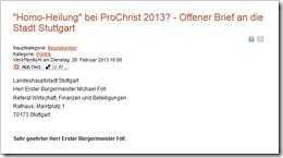 Protestbrief gegen ProChrist Homoheiler