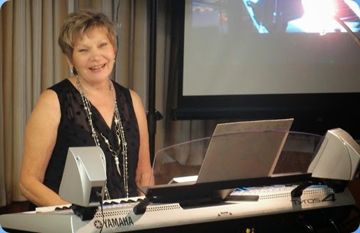 Our guest artist, Carole Littlejohn playing the Yamaha Tyros 4. Photo courtesy of Dennis Lyons