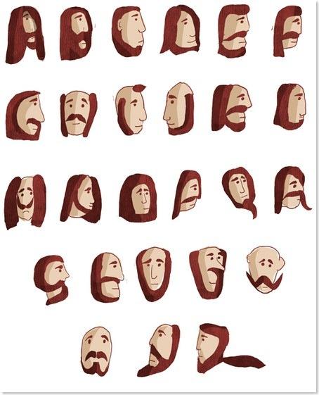 beard-mane alphabet