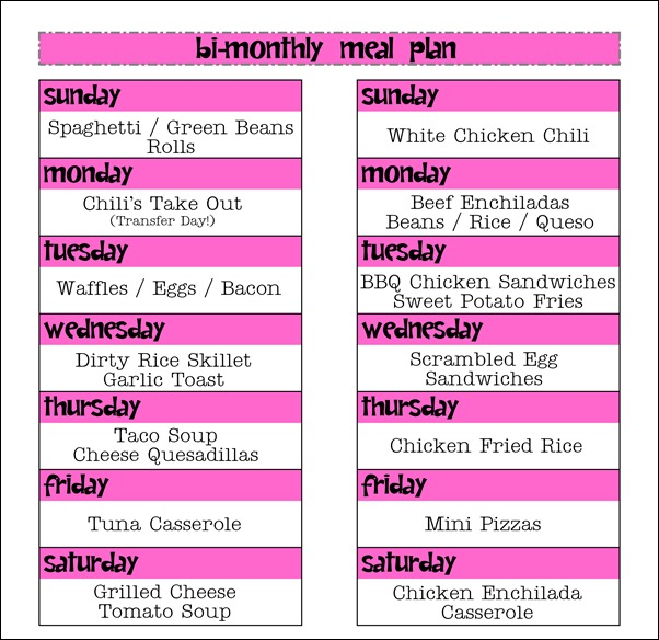 Feb 17-March 2 Meal Plan