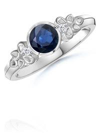 Round Sapphire and Diamond Vintage Ring