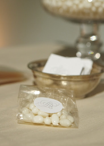 A little jelly-bean favor bag for guests to take home.
