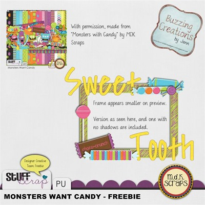 MDK Scraps - Monsters Want Candy - Wordart Frame Freebie Preview