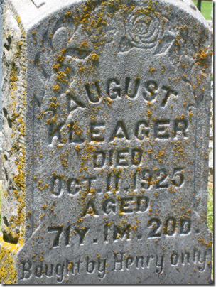 Grave marker of August Kleager, died 1925.