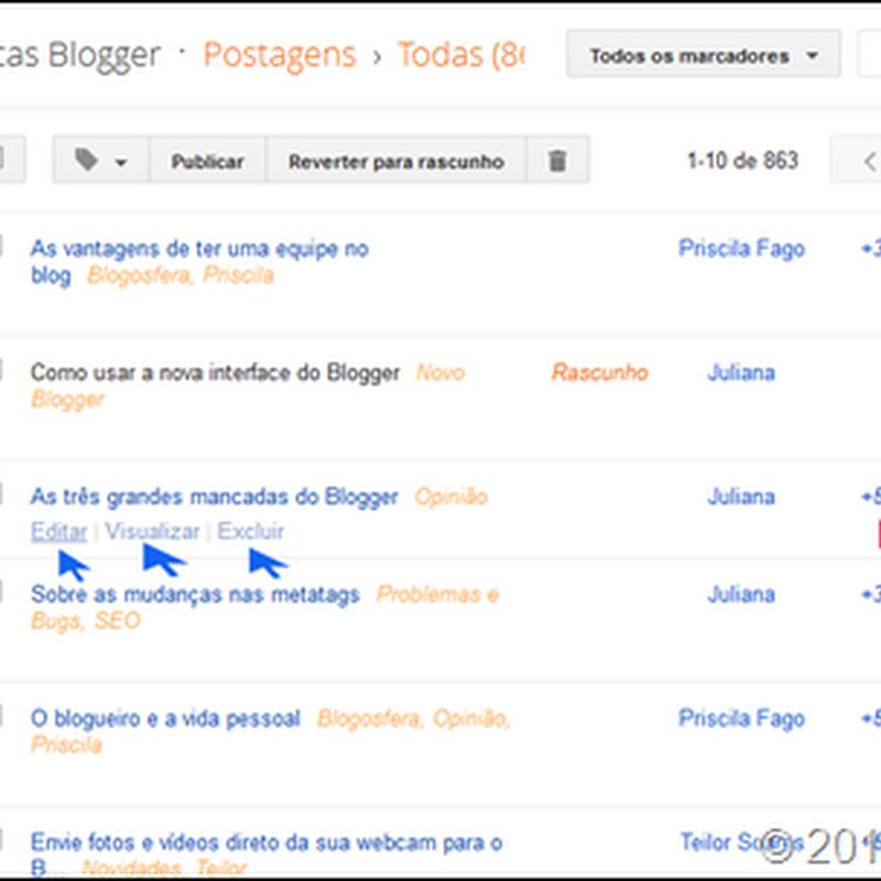 Novo Blogger: Criar e gerenciar posts