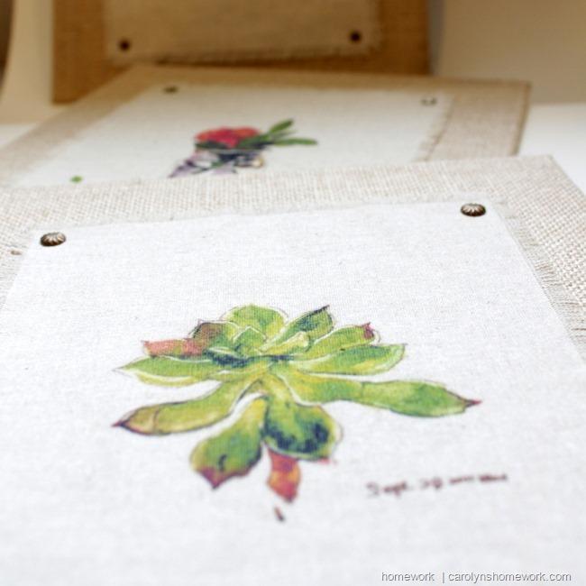 Fabric Prints on Burlap Canvas via homework | carolynshomework.com