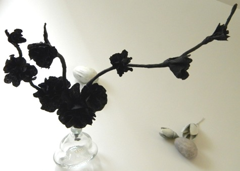 Homework a creative blog inkling halloween dcor black flowers the flowers are made out of black crepe paper and the stems are twigs wrapped in the same black crepe paper click here for the crepe paper flower mightylinksfo Gallery