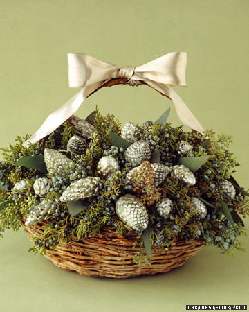 Vintage or new silver ornaments give a table luster. These pinecone-shaped examples are nestled in a basket, clustered among eucalyptus leaves and sprigs of cedar.