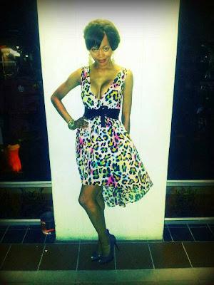 animal print dress and stilettos