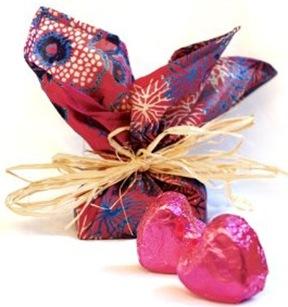valentine truffles in silk furoshiki