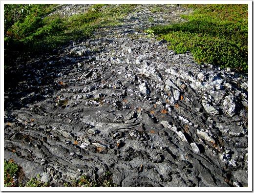 Var kommer dessa formationer ifrån. Materialet är sten blandat med något mjukare, känns nästan som sådan där seg asfalt.