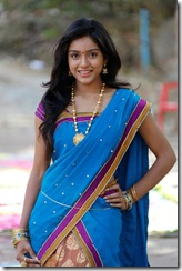 Telugu Actress Vithika Photos in Blue Half Saree