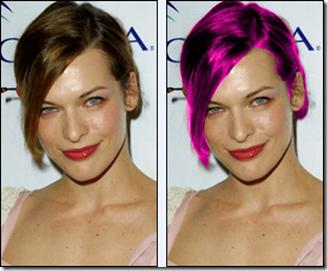 Milla Jovovich capelli colorati con GIMP