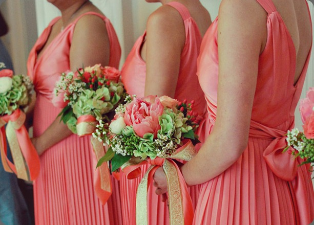 coral-peony-antique-hydrangea-bow-bouquets alea moore photo and boukates