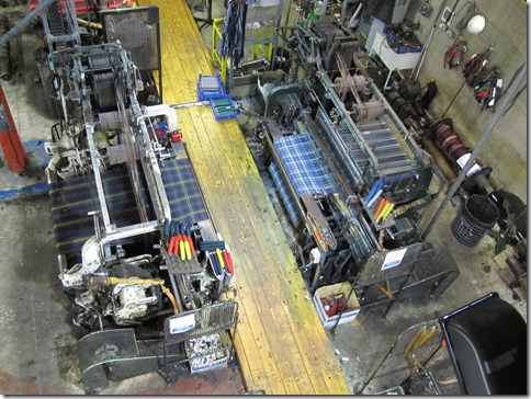 Automatic weaving machines doing their work