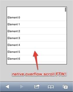 Scroll con momentum en iOS con -webkit-overflow-scrolling