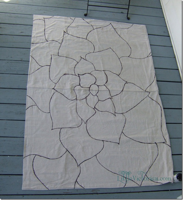 inexpensive outdoor diy painted drop cloth rug