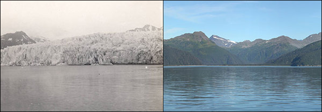 McCarty Glacier, Alaska. Left: 30 July 1909. Right: 11 August 2004. Rights information: Glacier Photograph Collection, National Snow and Ice Data Center/World Data Center for Glaciology. 1909 picture taken by Ulysses Sherman Grant. 2004 picture taken by Bruce F. Molnia.