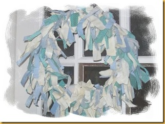 rag wreath- blue-frame