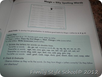 Family Style School: Handwriting Without Tears.