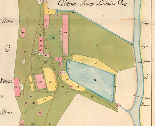 Sandvikskällan 1788. Bränneriet är på plats och man har byggt en damm igen