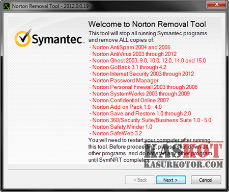 Norton Removal Tool 2012, Uninstall Produk Norton Sampai Bersih