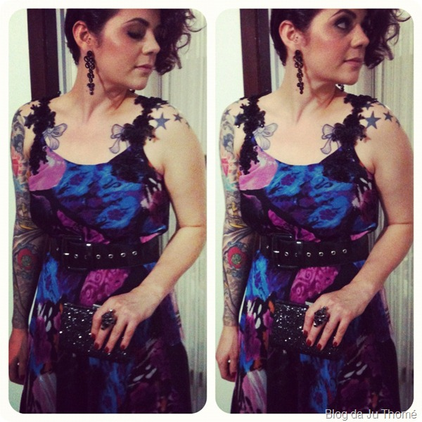 look vestido floral com renda detalhes clutch miss beltrão 2012