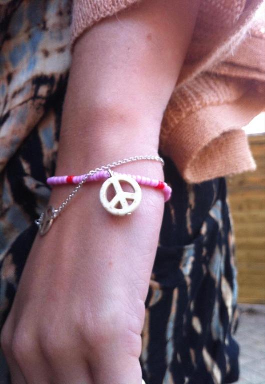Minnie White Turquoise Peace Bracelet, £15, Hello Heron