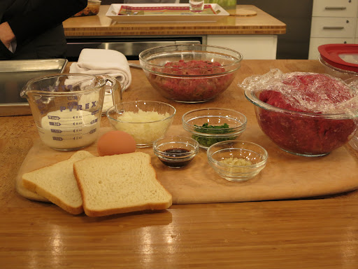 The mise en place (prep ingredients) for the steaks