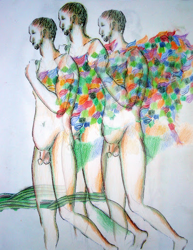 """Three Angels,"" 2005, India ink and coloured pencil on paper, page-sized, lifedrawing - layered image"