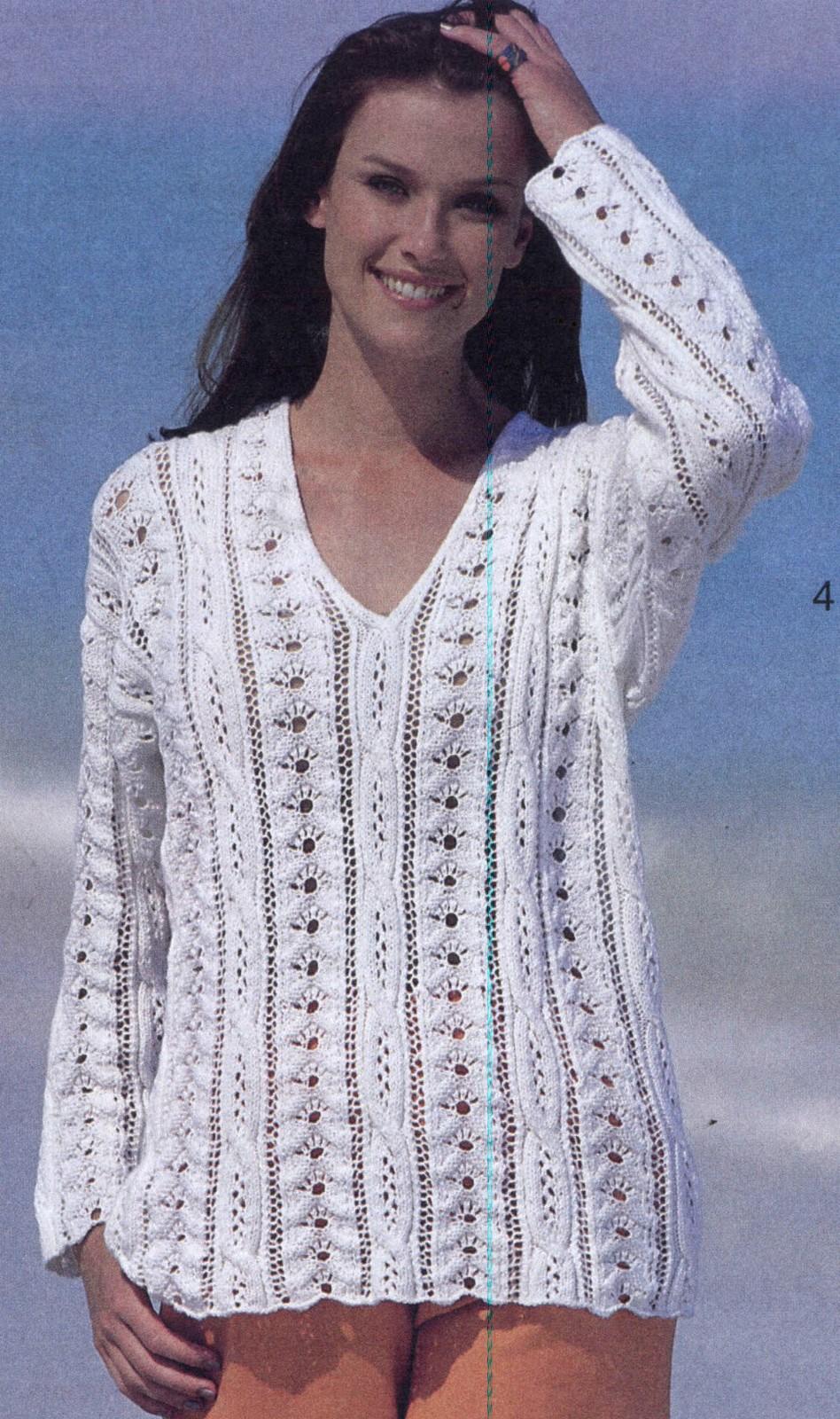 Білий ажурний пуловер